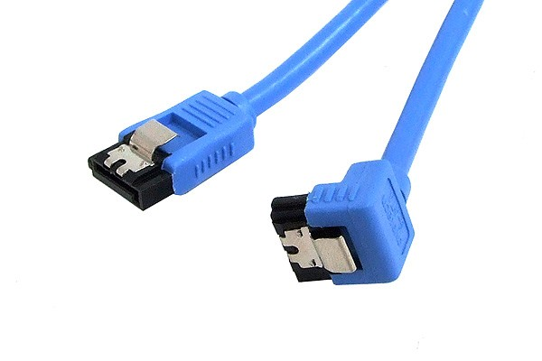 InLine® SATA round cable, blue, one side angled 90°, with latches, 0.5m