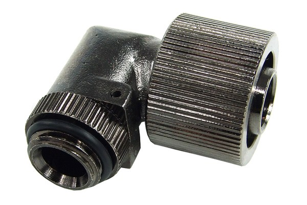 "16/11mm compression fitting 90° angled G1/4"" black nickel plated"